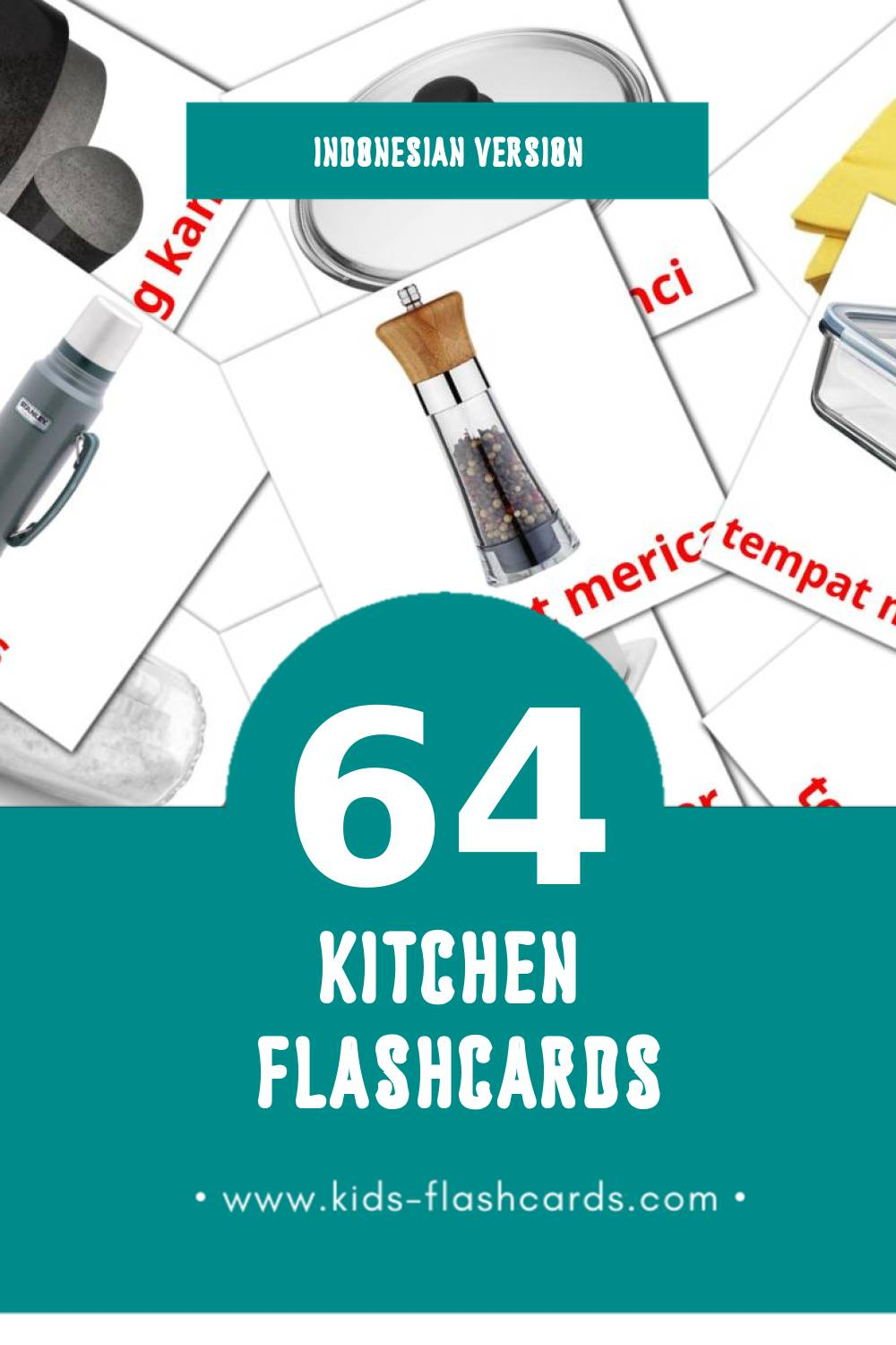 Visual Dapur Flashcards for Toddlers (64 cards in Indonesian)