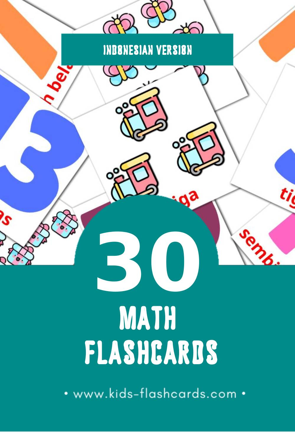 Visual Matematika Flashcards for Toddlers (30 cards in Indonesian)
