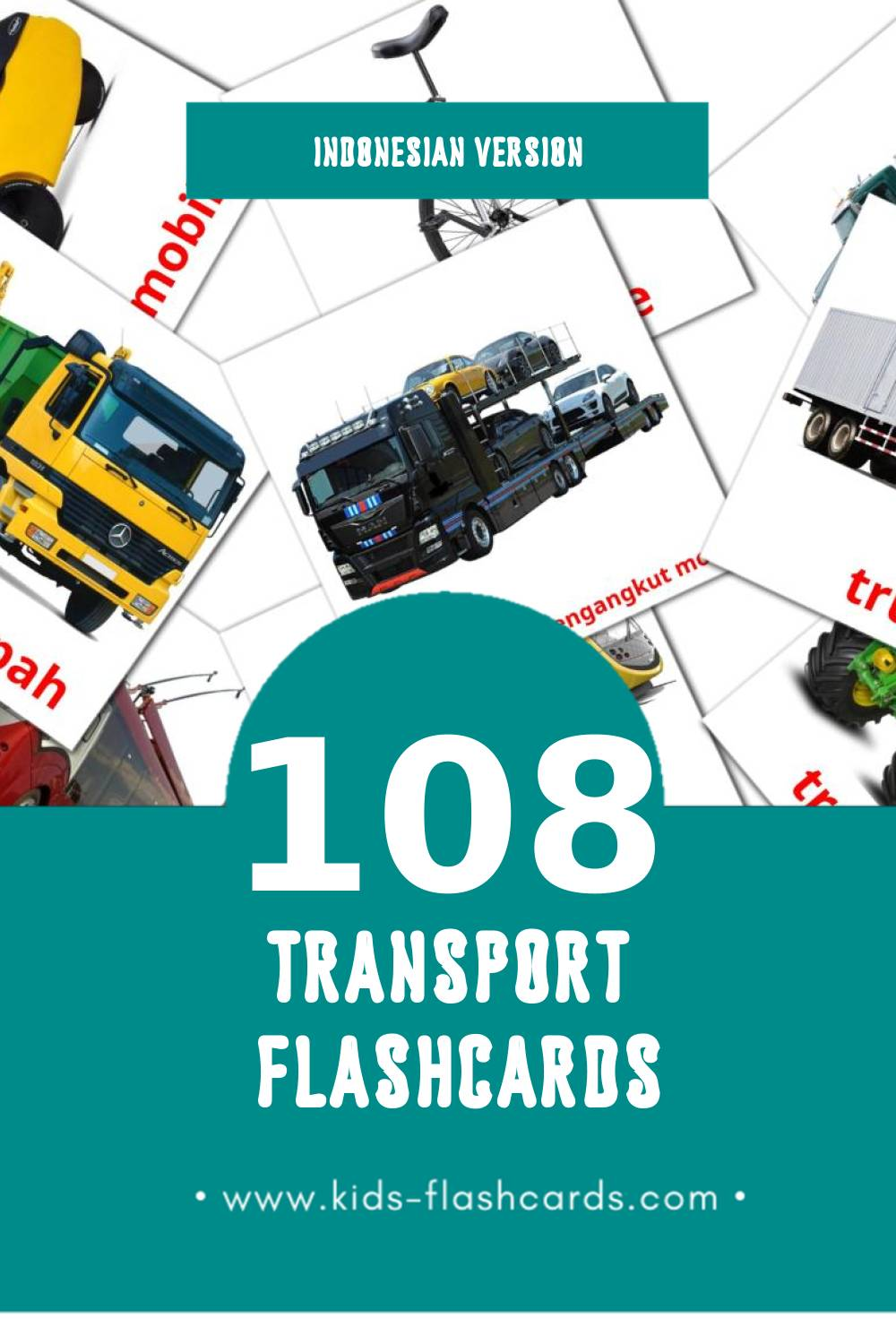 Visual Transportasi Flashcards for Toddlers (94 cards in Indonesian)