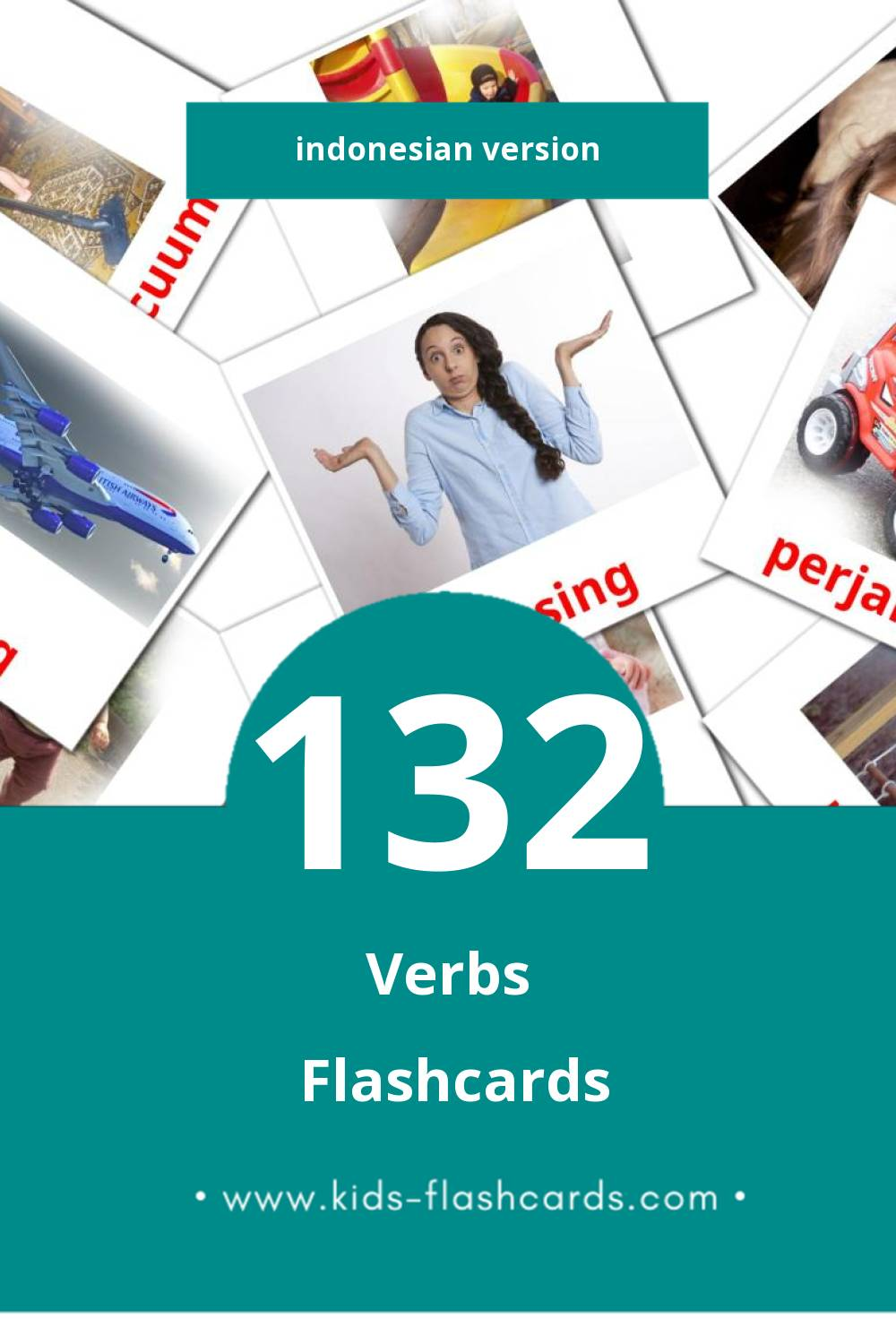 Visual verba Flashcards for Toddlers (133 cards in Indonesian)