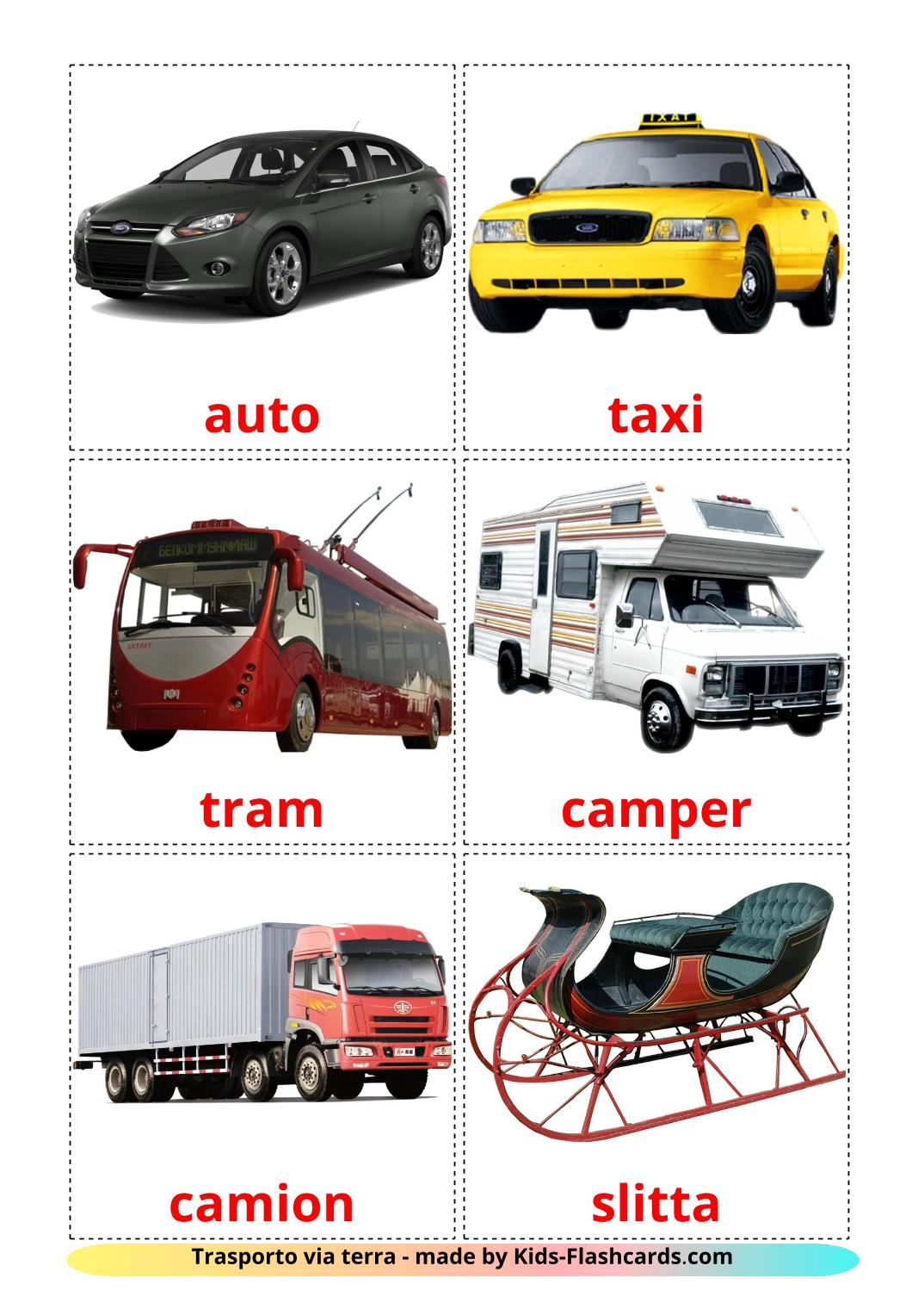 Land transport - 28 Free Printable italian Flashcards