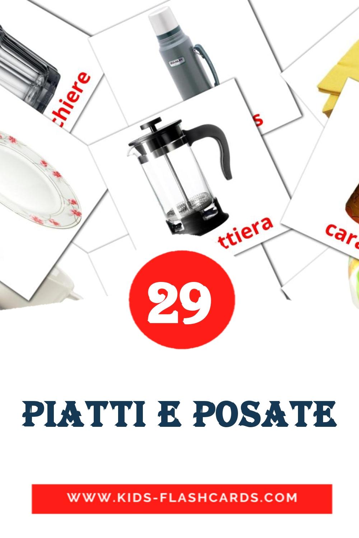29 Piatti e posate Picture Cards for Kindergarden in italian