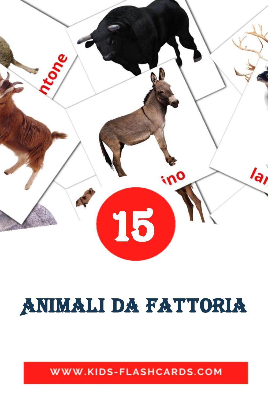 15 Animali di fattoria Picture Cards for Kindergarden in italian