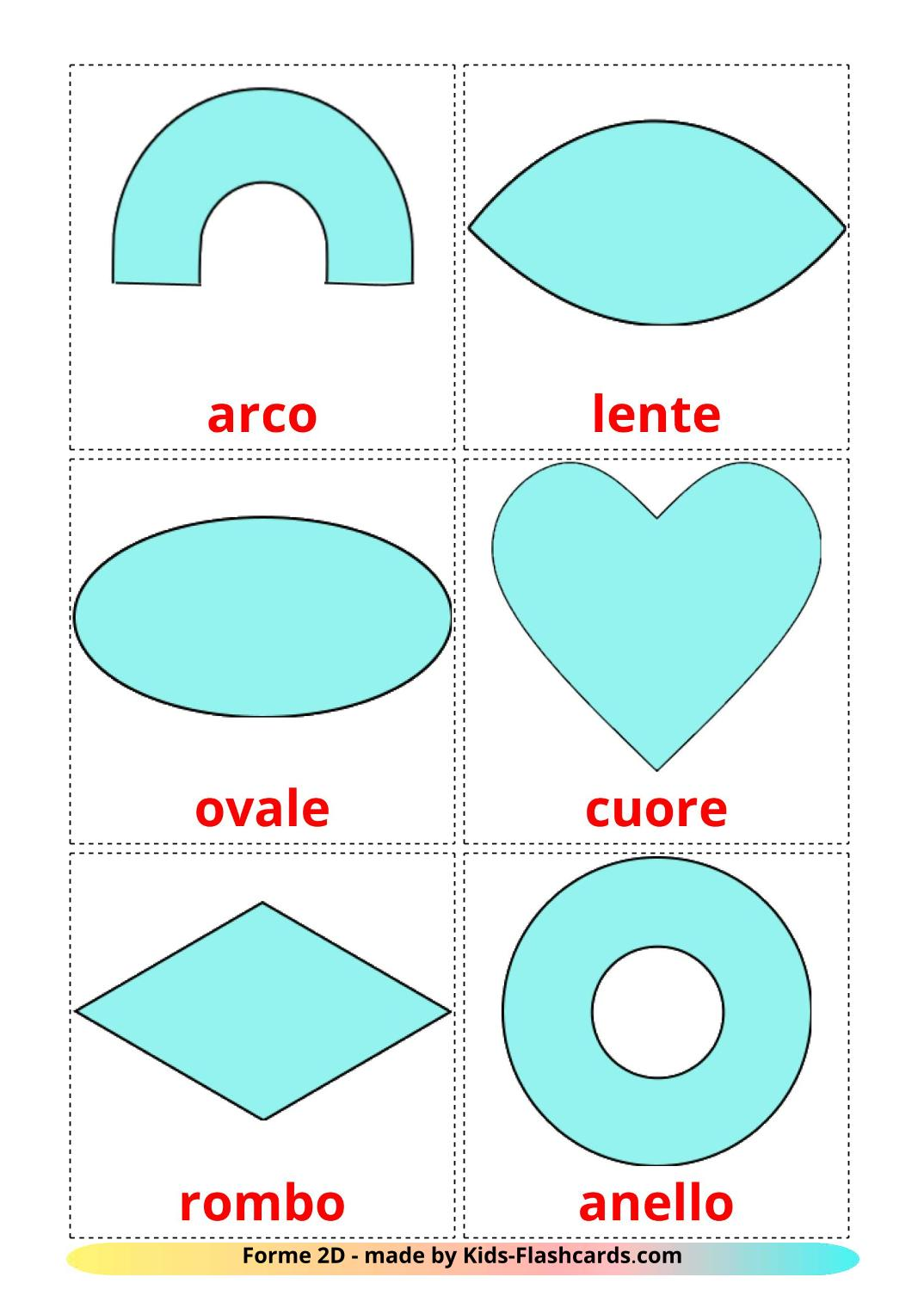 2D Shapes picture cards for Kindergarden in italian