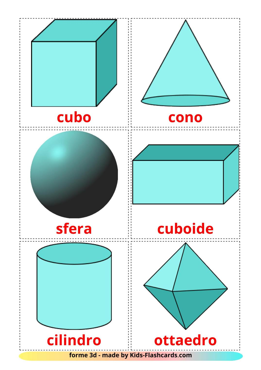 3D Shapes - 17 Free Printable italian Flashcards