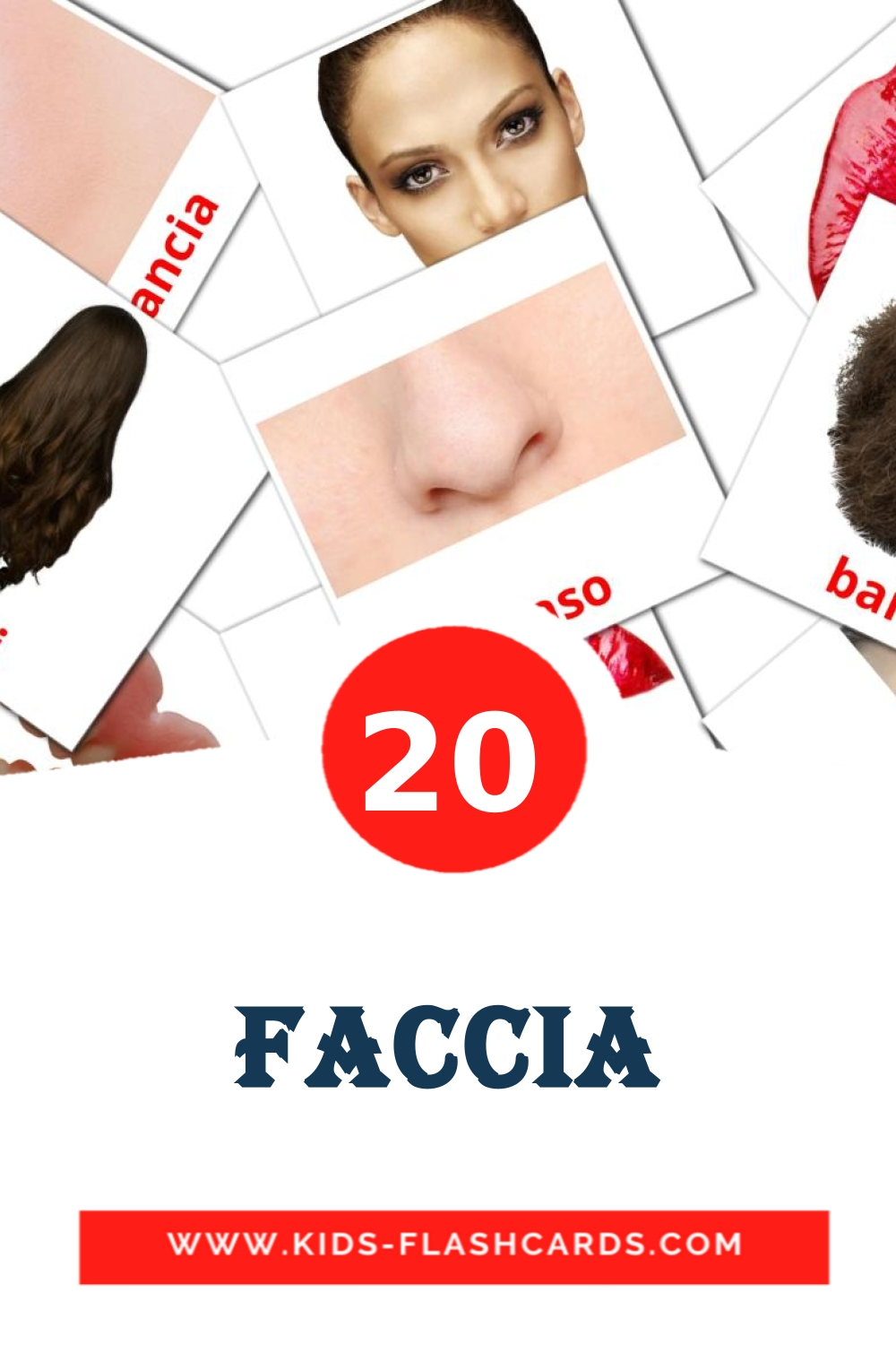 20 Faccia Picture Cards for Kindergarden in italian