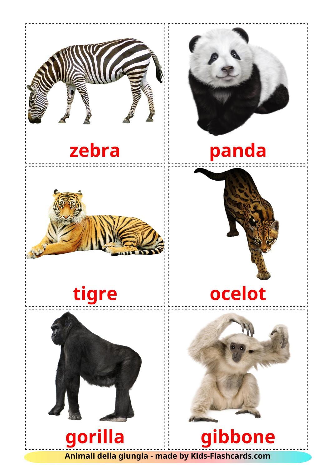 Jungle animals - 21 Free Printable italian Flashcards