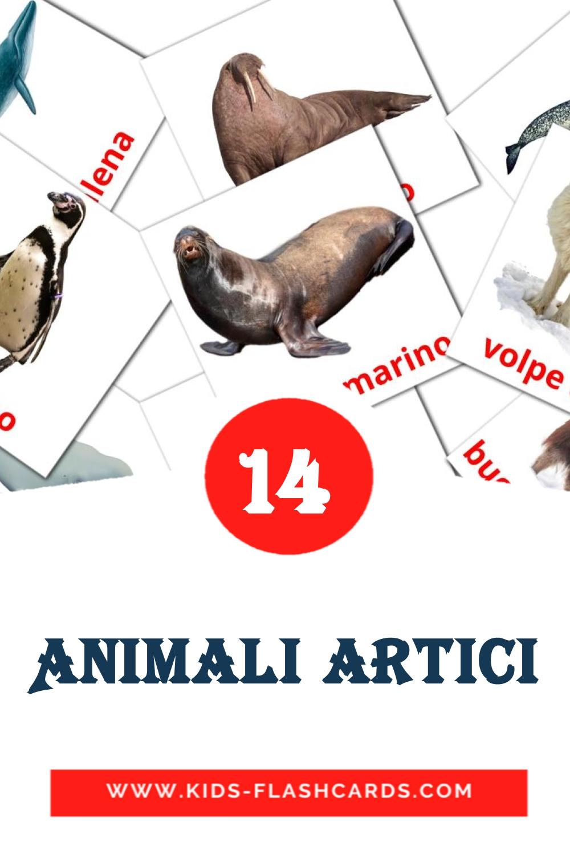 14 Animali artici Picture Cards for Kindergarden in italian