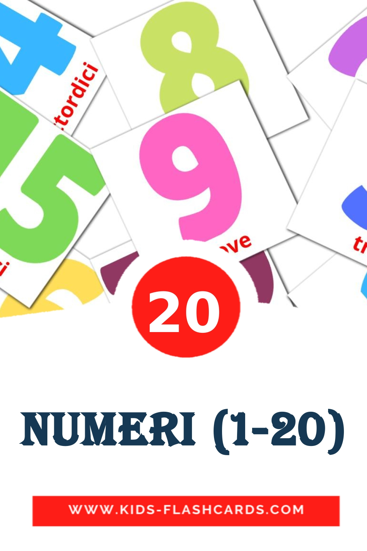 20 Numeri (1-20) Picture Cards for Kindergarden in italian