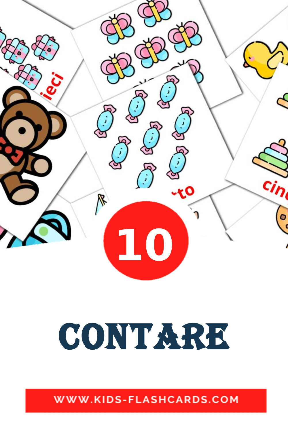 10 Contare Picture Cards for Kindergarden in italian