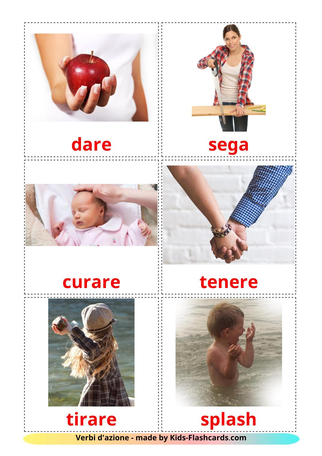 Action verbs - 55 Free Printable italian Flashcards