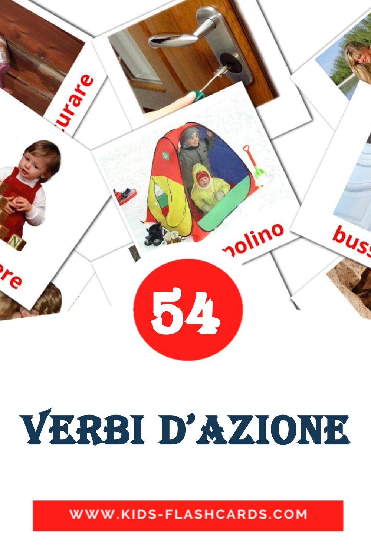 55 Verbi d'azione Picture Cards for Kindergarden in italian