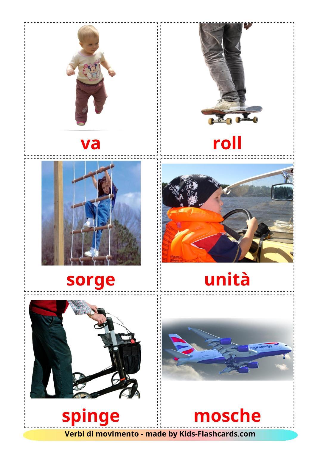 Movement verbs - 22 Free Printable italian Flashcards