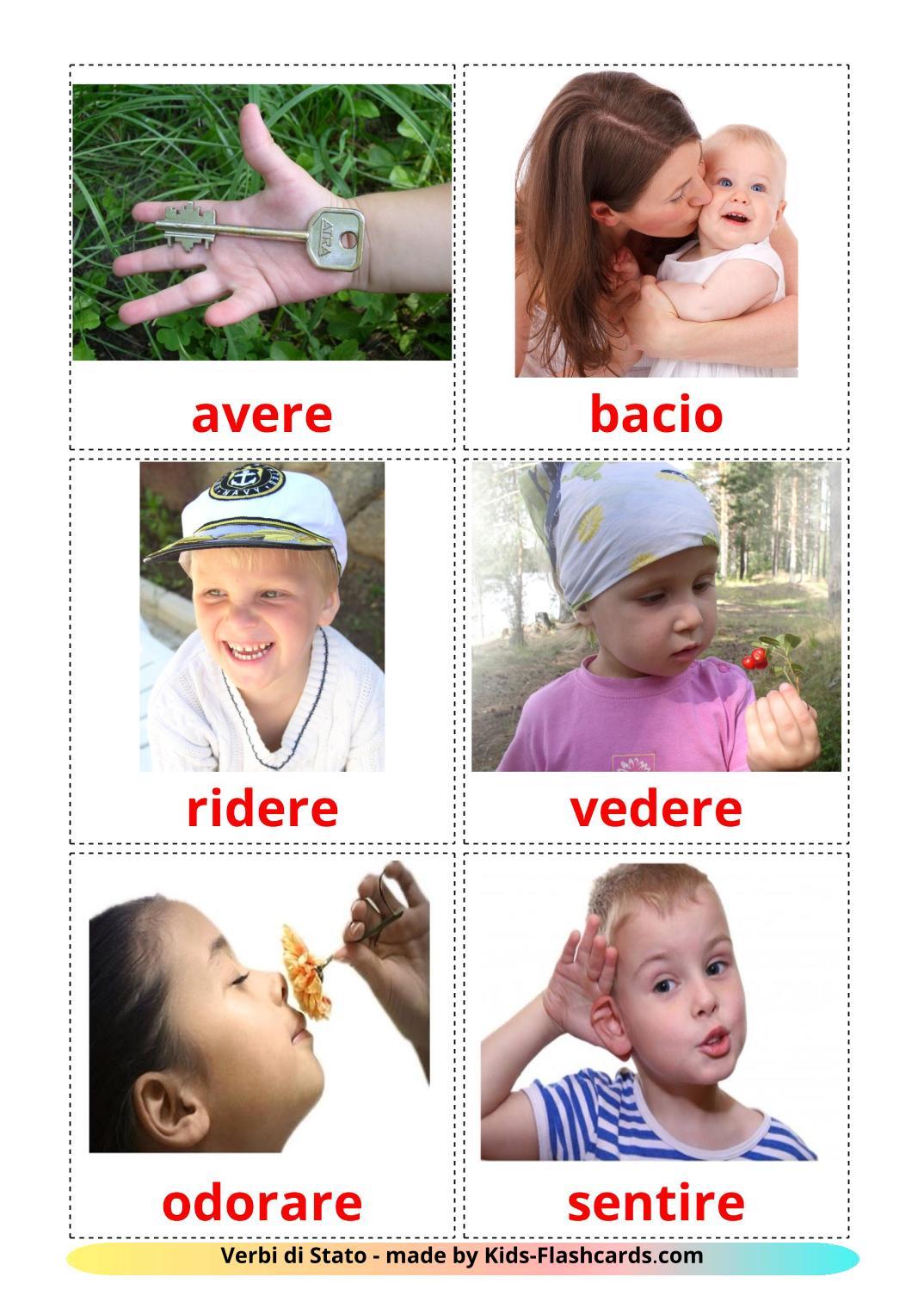 State verbs - 23 Free Printable italian Flashcards