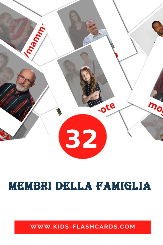 32 Membri Della Famiglia  Picture Cards for Kindergarden in italian