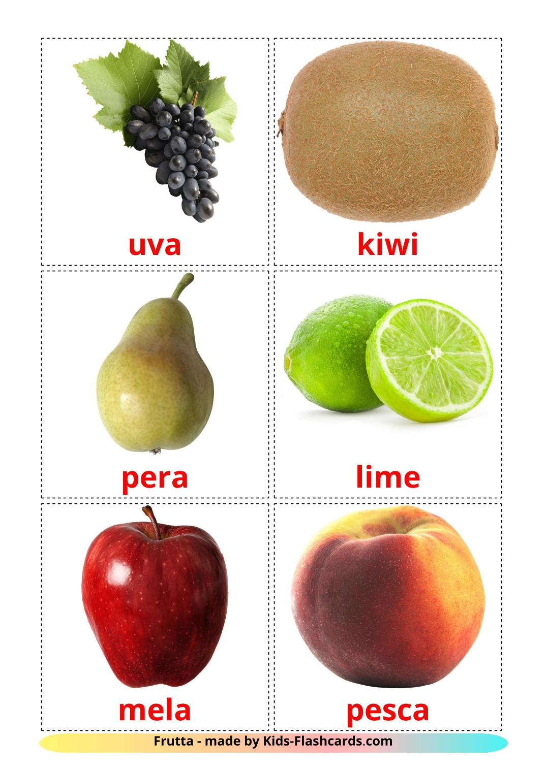 Fruits - 20 Free Printable italian Flashcards