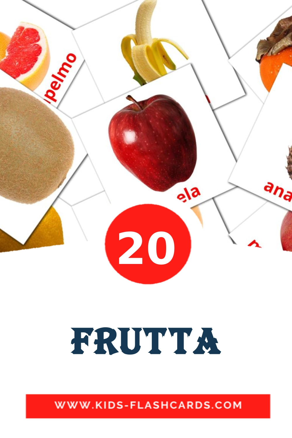 20 Frutta Picture Cards for Kindergarden in italian