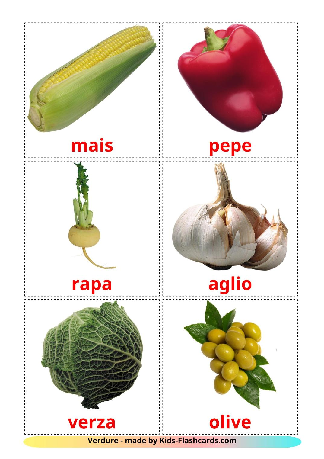Vegetables - {2} Free Printable italian Flashcards