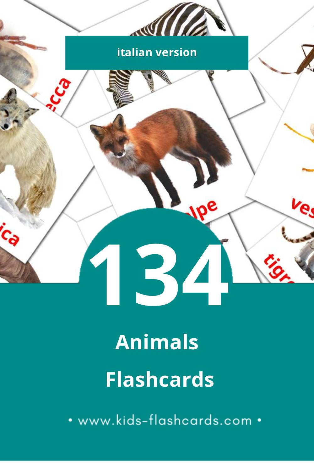Visual Animali Flashcards for Toddlers (134 cards in Italian)