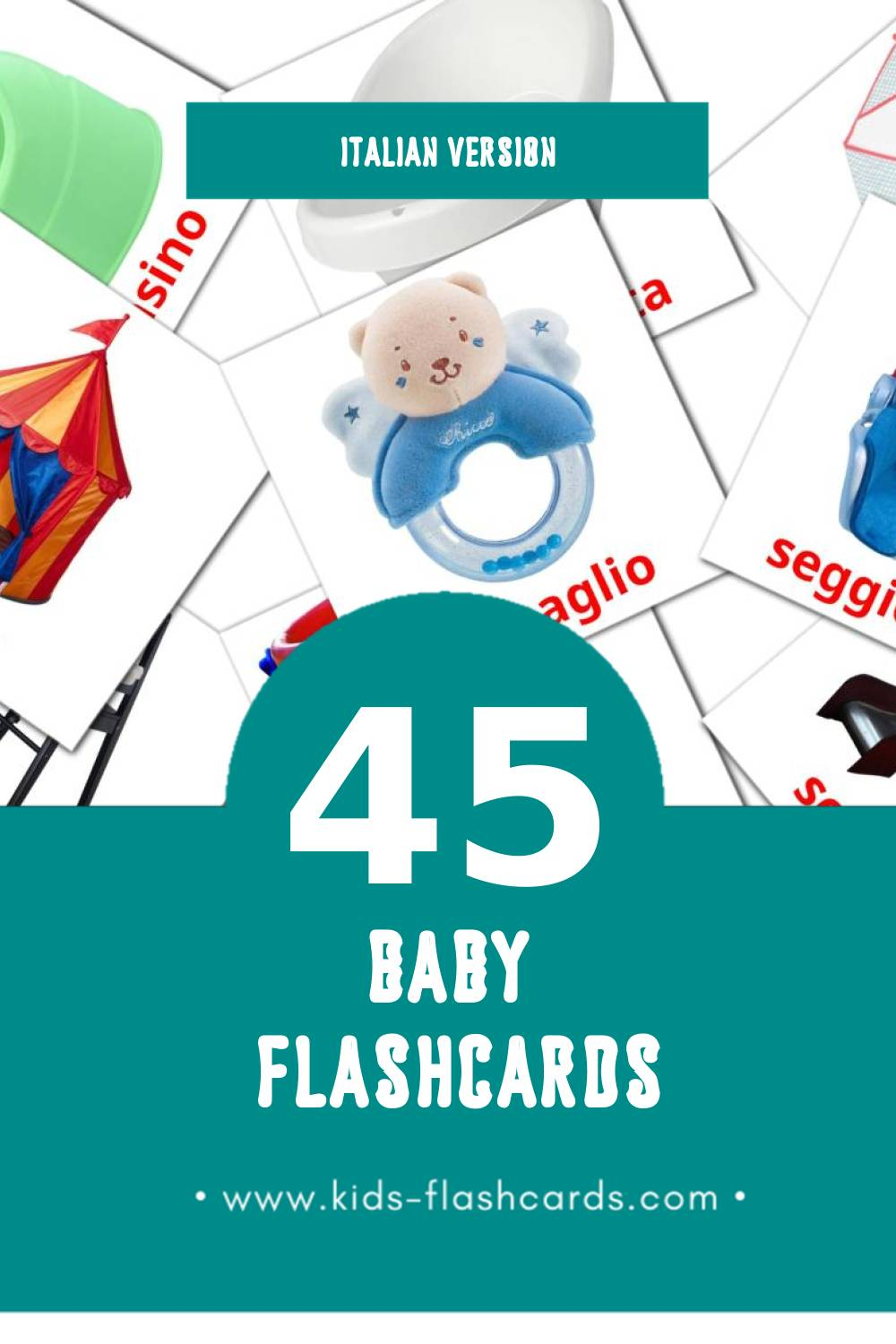 Visual Bambino Flashcards for Toddlers (45 cards in Italian)