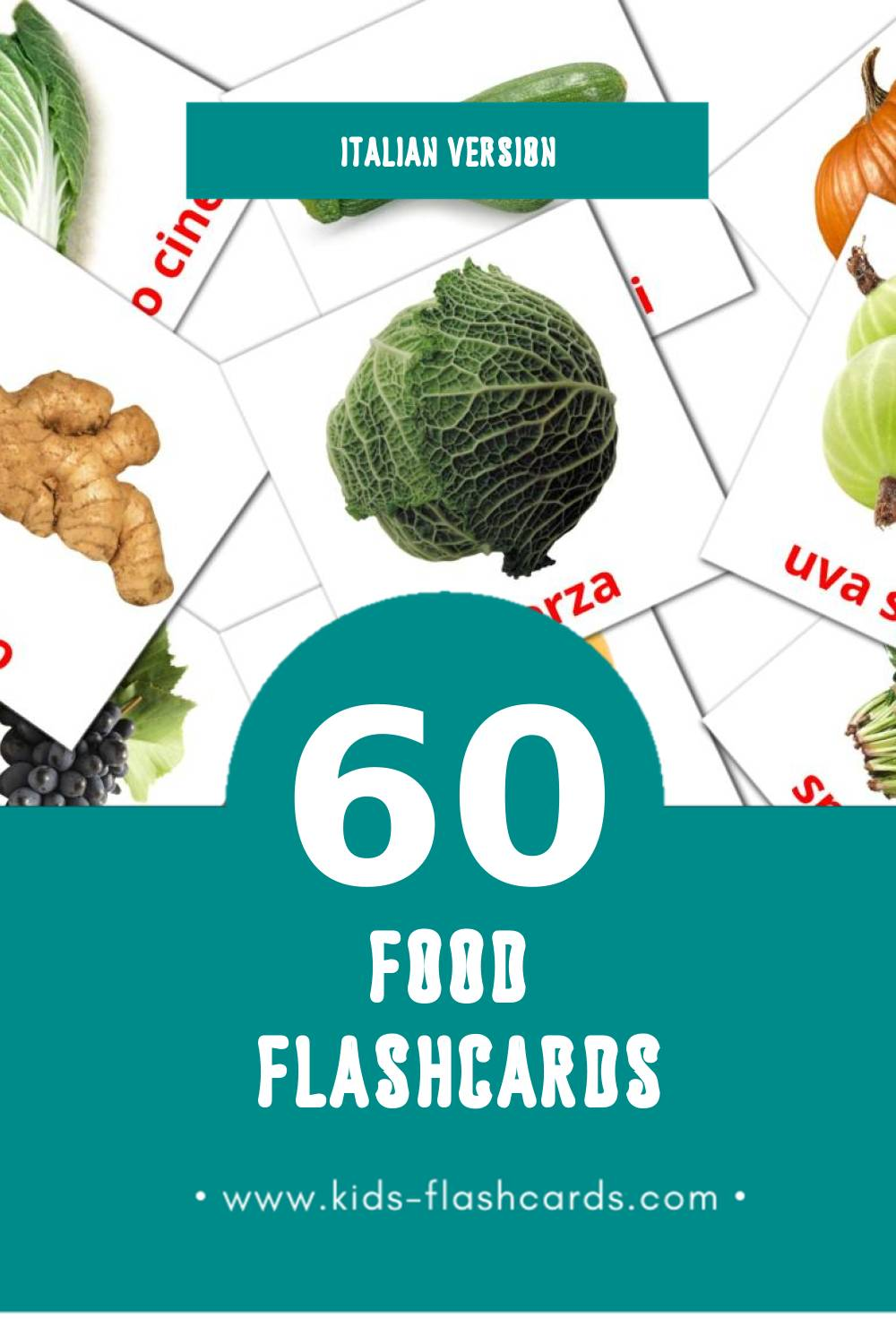 Visual Сibo Flashcards for Toddlers (60 cards in Italian)