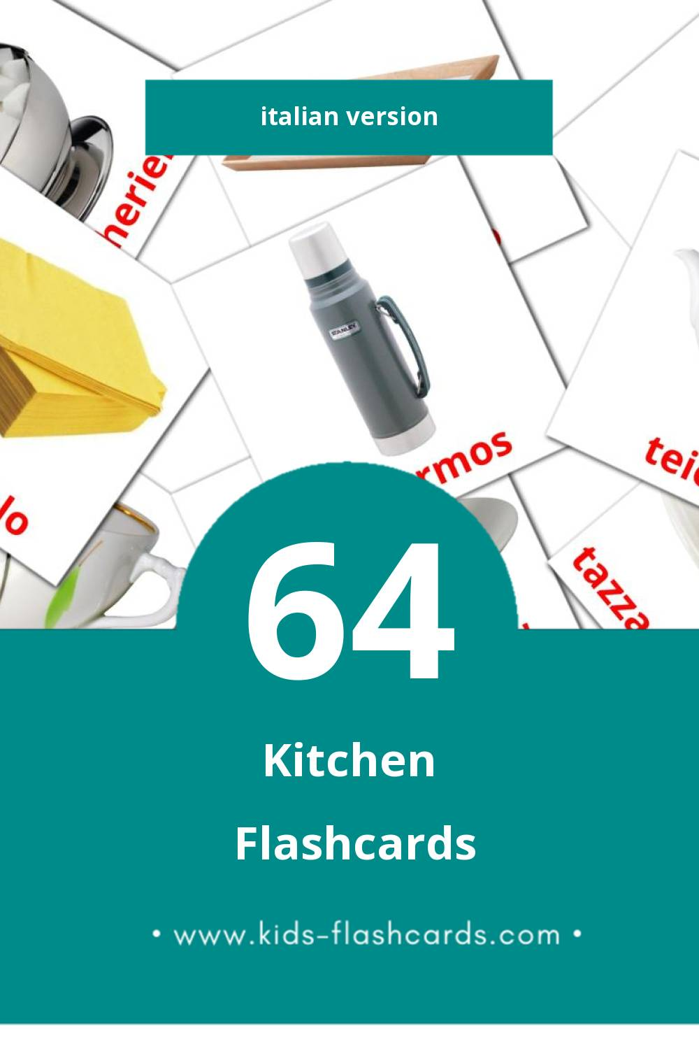 Visual Cucina Flashcards for Toddlers (29 cards in Italian)