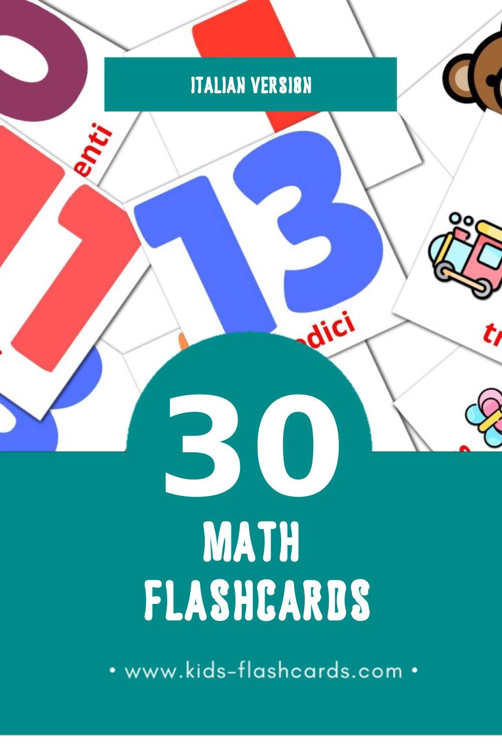 Visual Matematica Flashcards for Toddlers (30 cards in Italian)