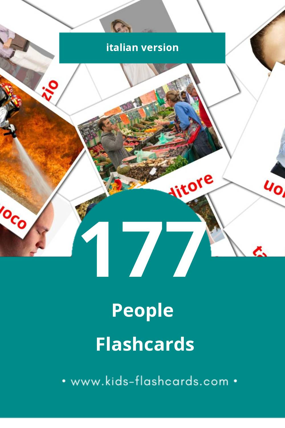 Visual PERSONE Flashcards for Toddlers (58 cards in Italian)