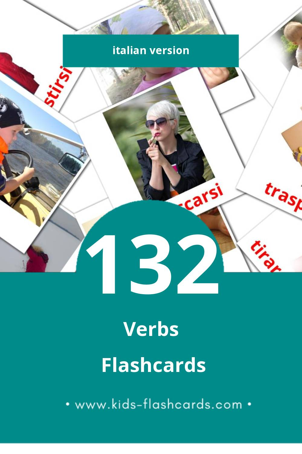 Visual Verbi Flashcards for Toddlers (55 cards in Italian)