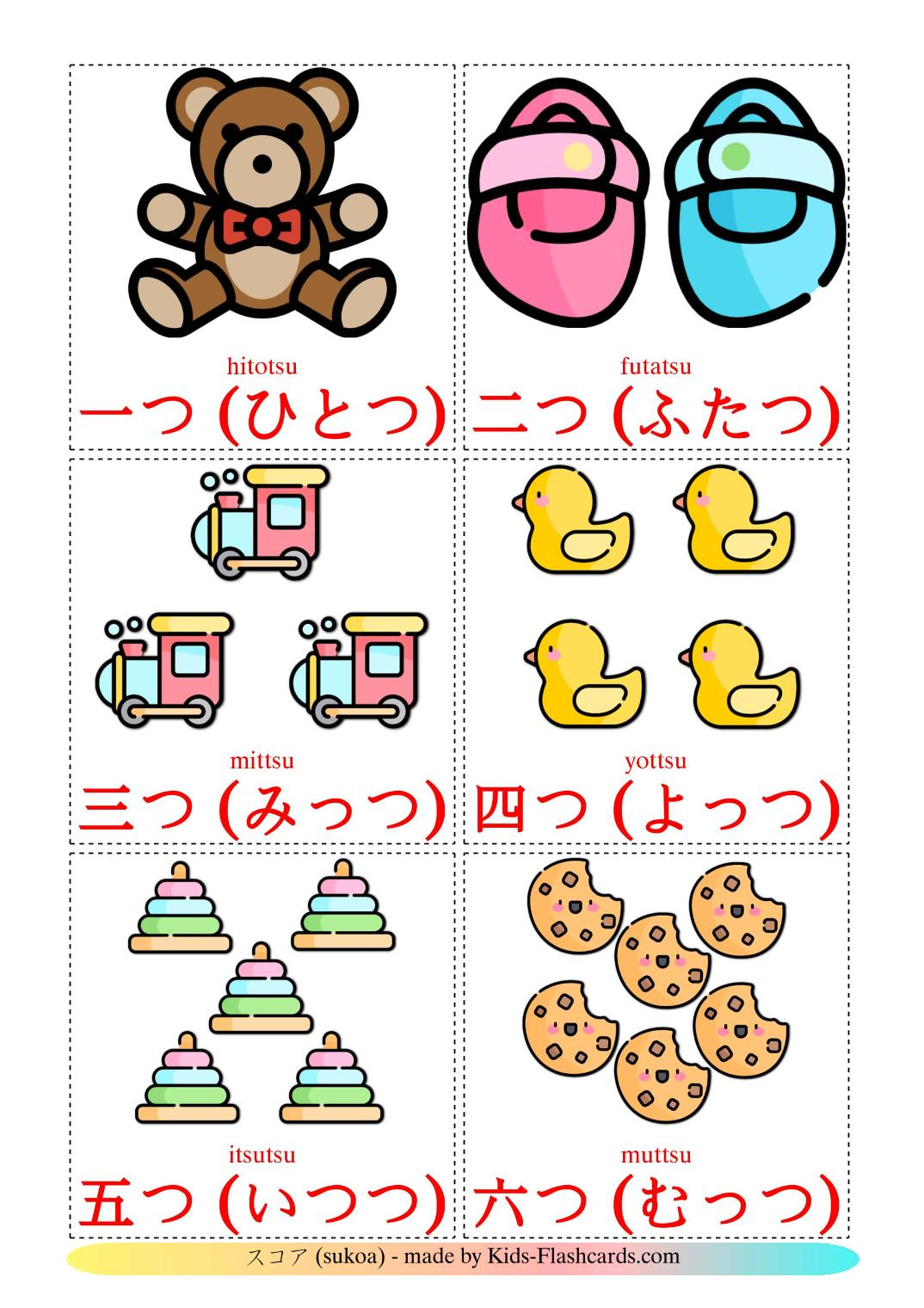Counting - 10 Free Printable japanese Flashcards