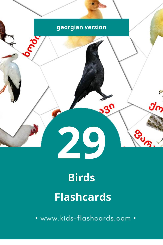 Visual ფრინველები Flashcards for Toddlers (18 cards in Georgian)