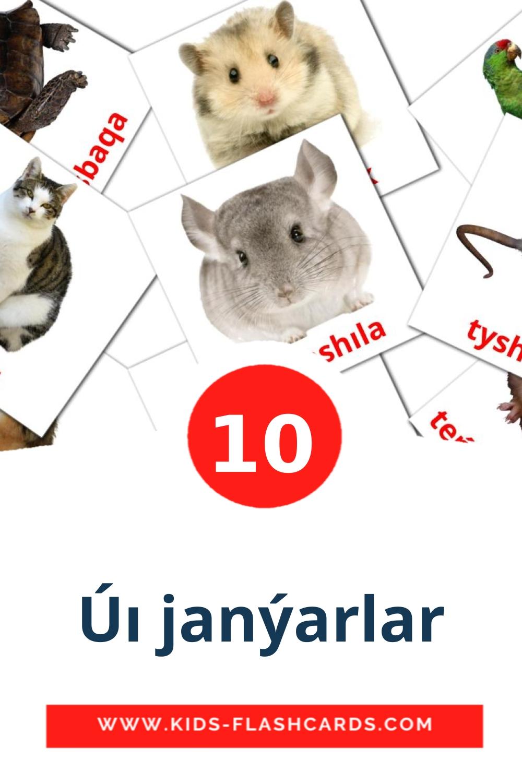 10 Úı janýarlar Picture Cards for Kindergarden in kazakh(latin)