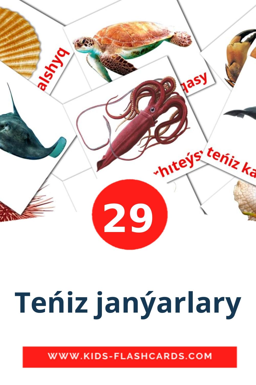 29 Teńіz janýarlary Picture Cards for Kindergarden in kazakh(latin)
