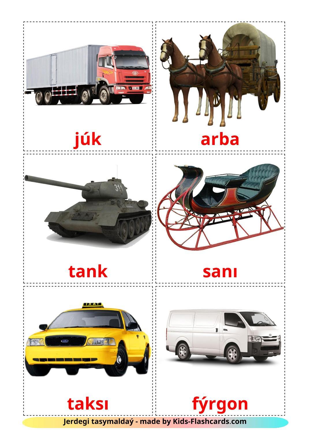 Land transport - 28 Free Printable kazakh(latin) Flashcards
