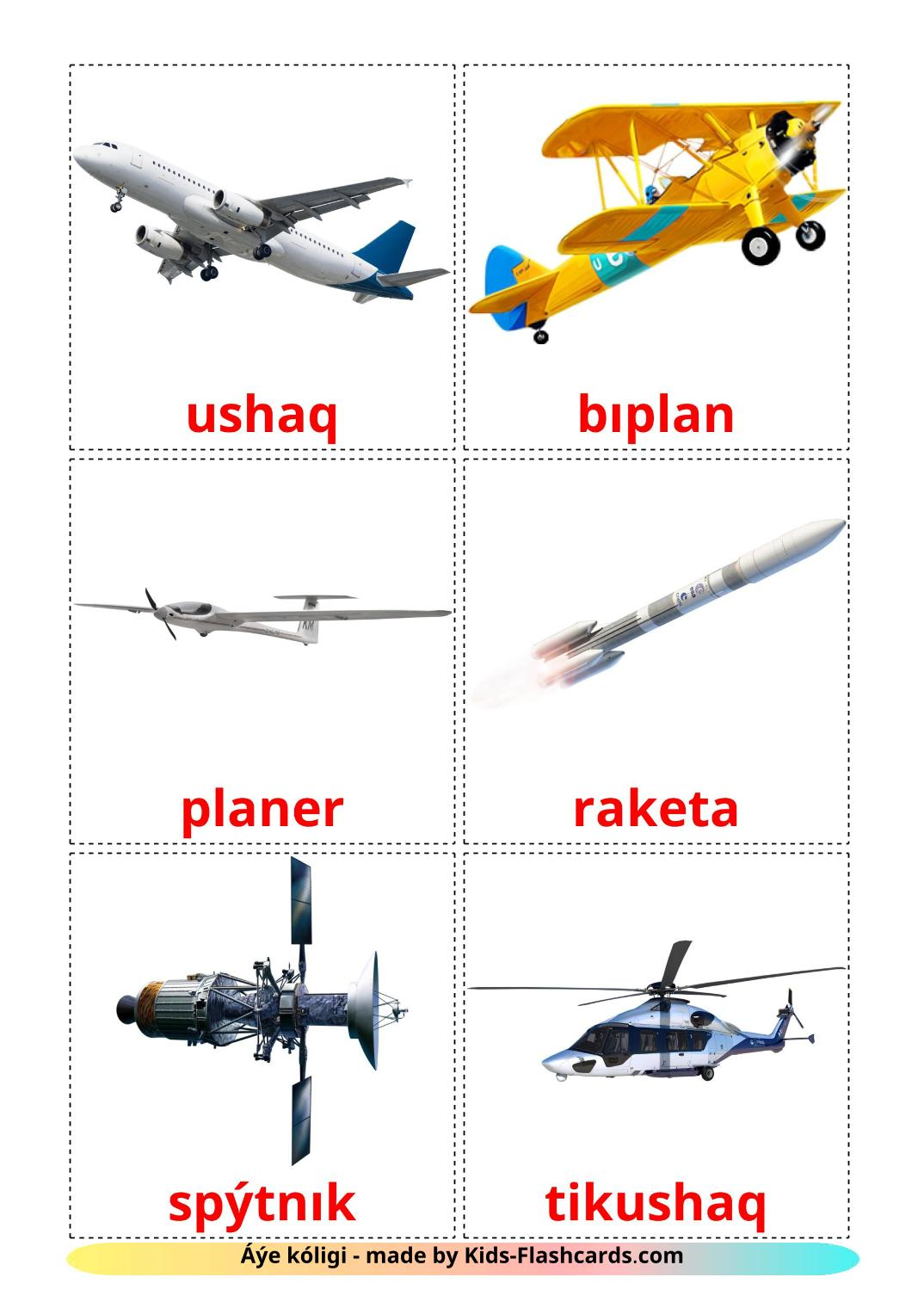 Aircraft - 14 Free Printable kazakh(latin) Flashcards