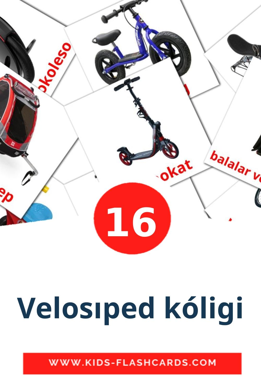 16 Velosıped kólіgі Picture Cards for Kindergarden in kazakh(latin)