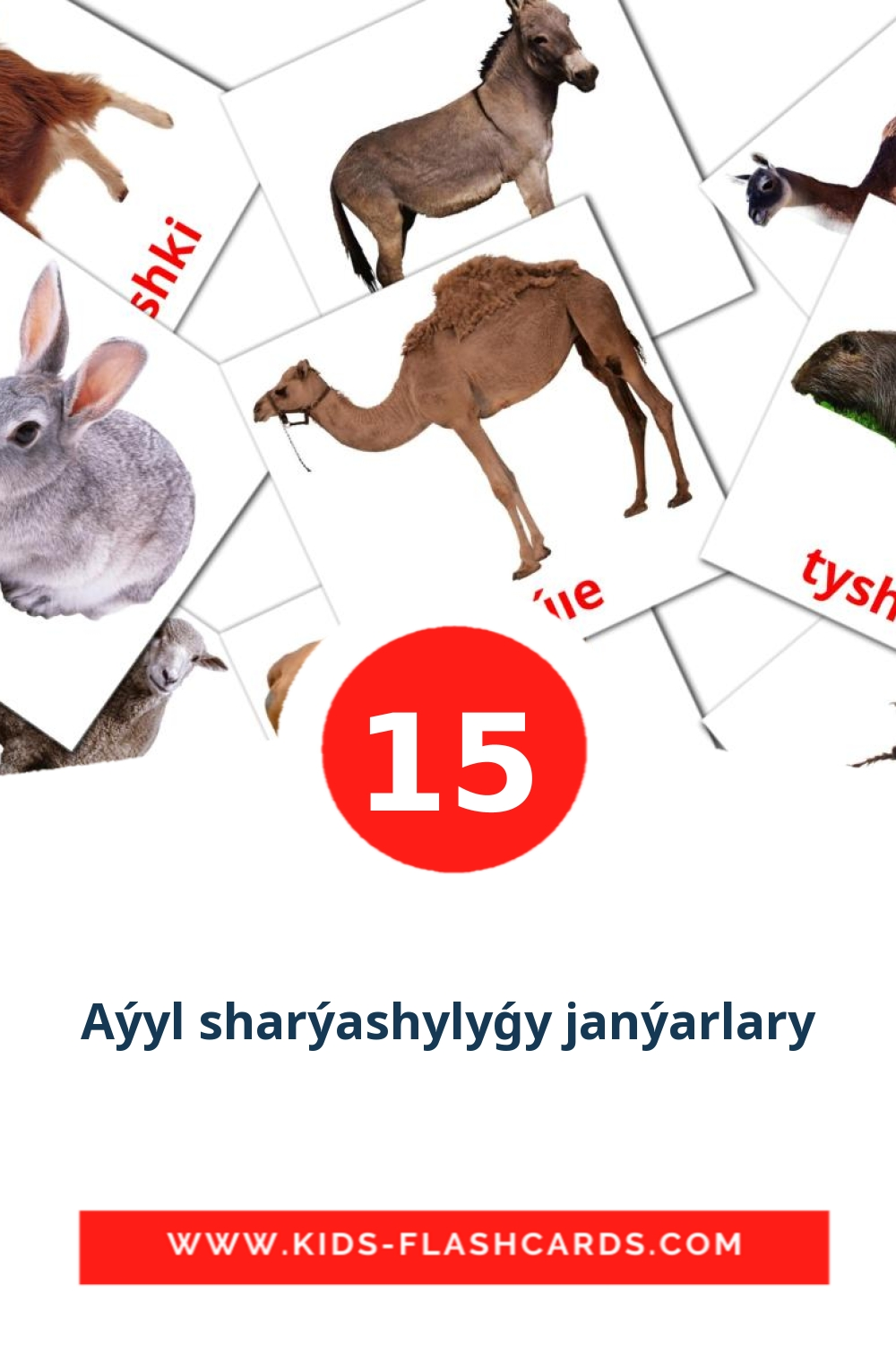 15 Aýyl sharýashylyǵy janýarlary Picture Cards for Kindergarden in kazakh(latin)