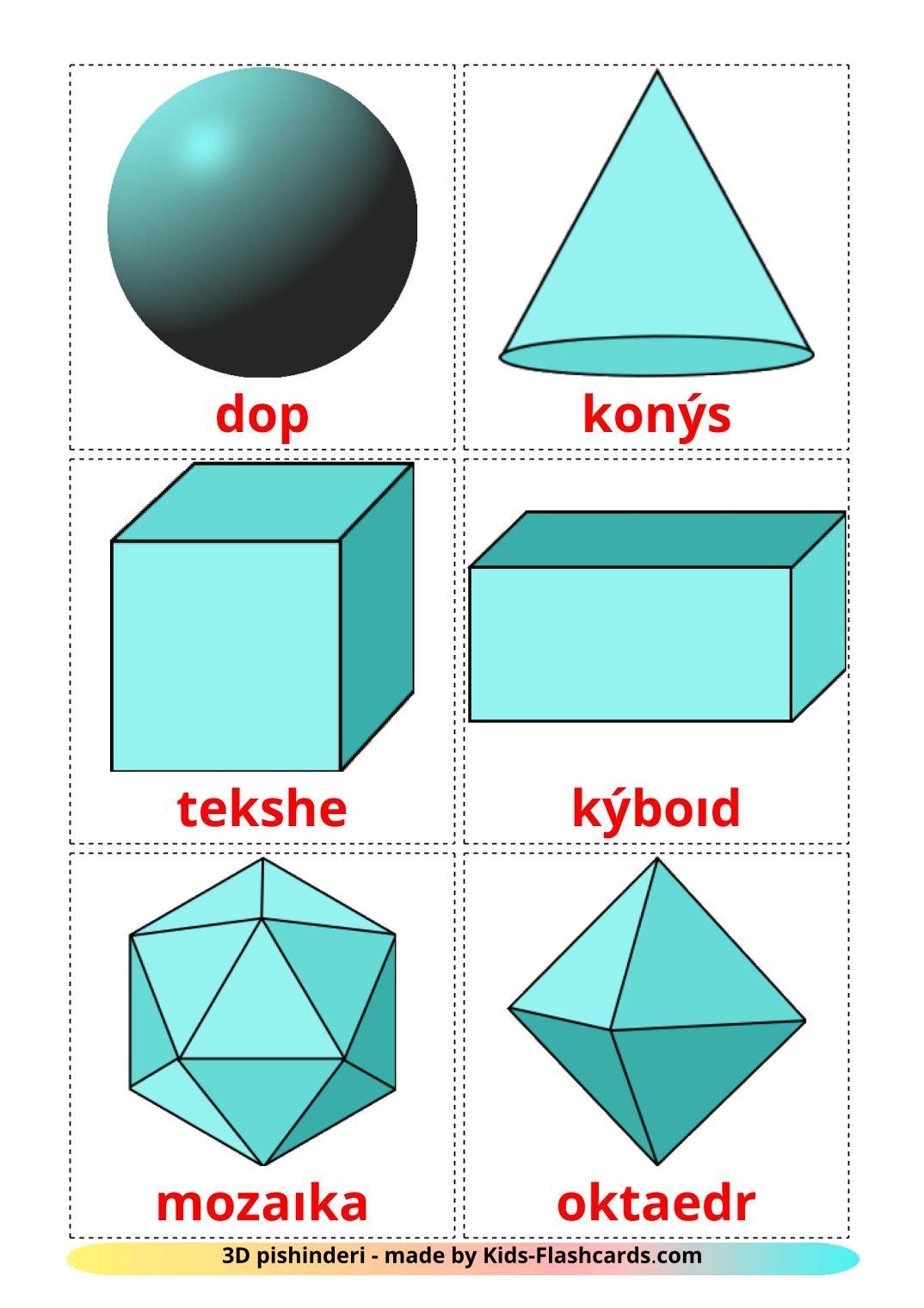 3D Shapes - 17 Free Printable kazakh(latin) Flashcards