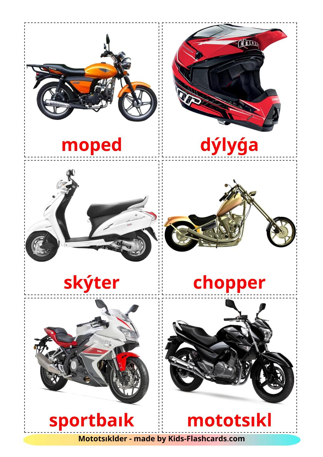 Motorcycles - 14 Free Printable kazakh(latin) Flashcards