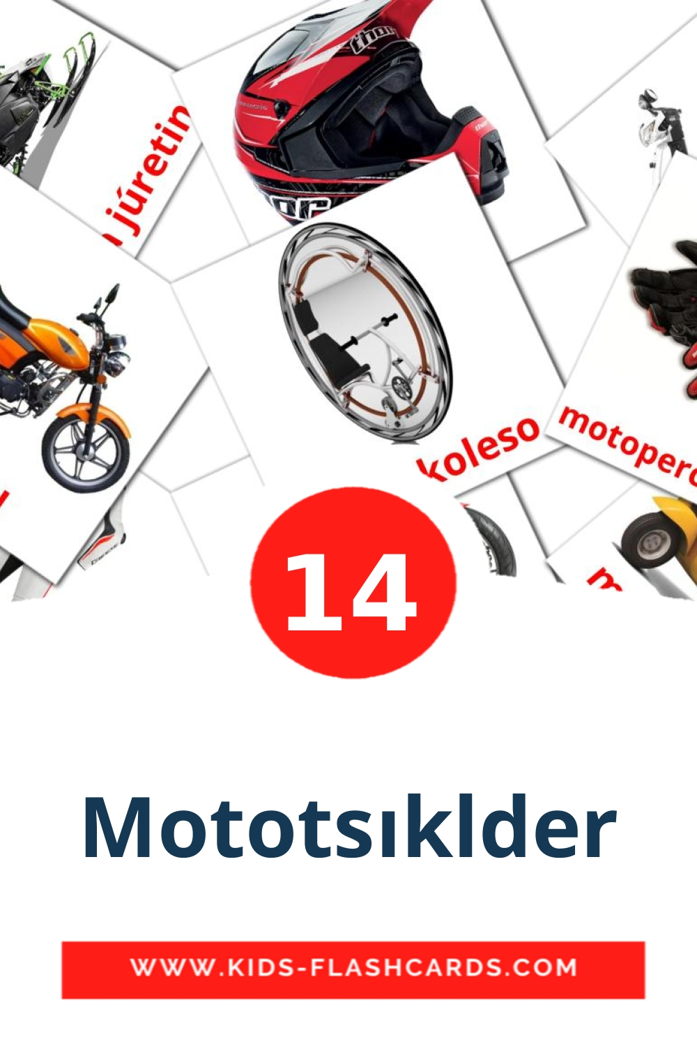 14 Mototsıklder Picture Cards for Kindergarden in kazakh(latin)