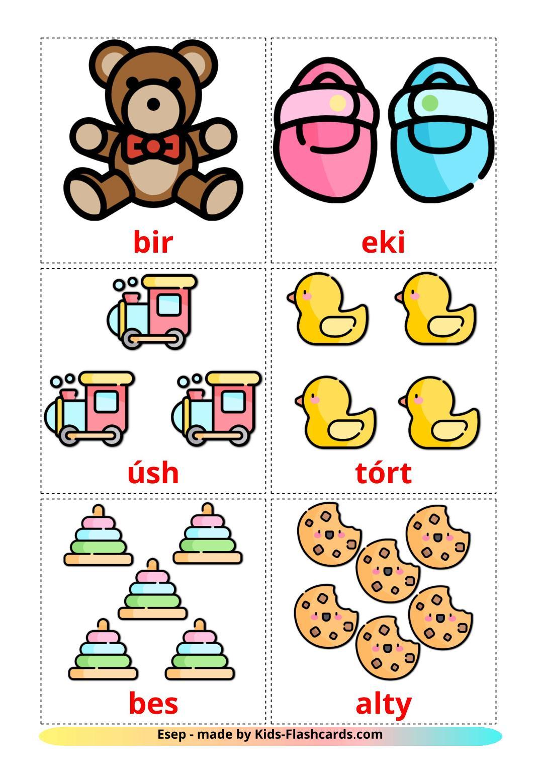 Counting - 10 Free Printable kazakh(latin) Flashcards