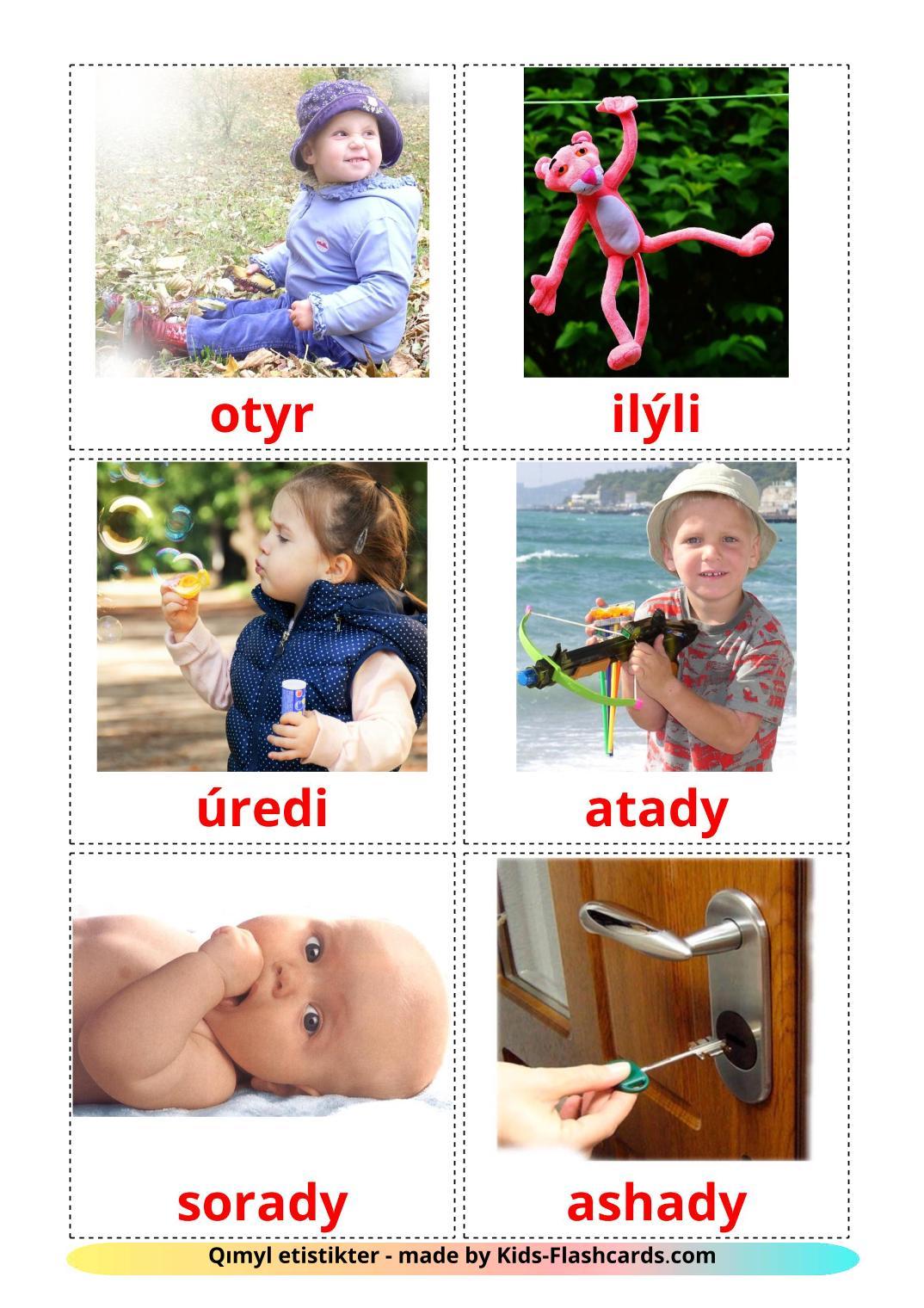 Action verbs - 55 Free Printable kazakh(latin) Flashcards