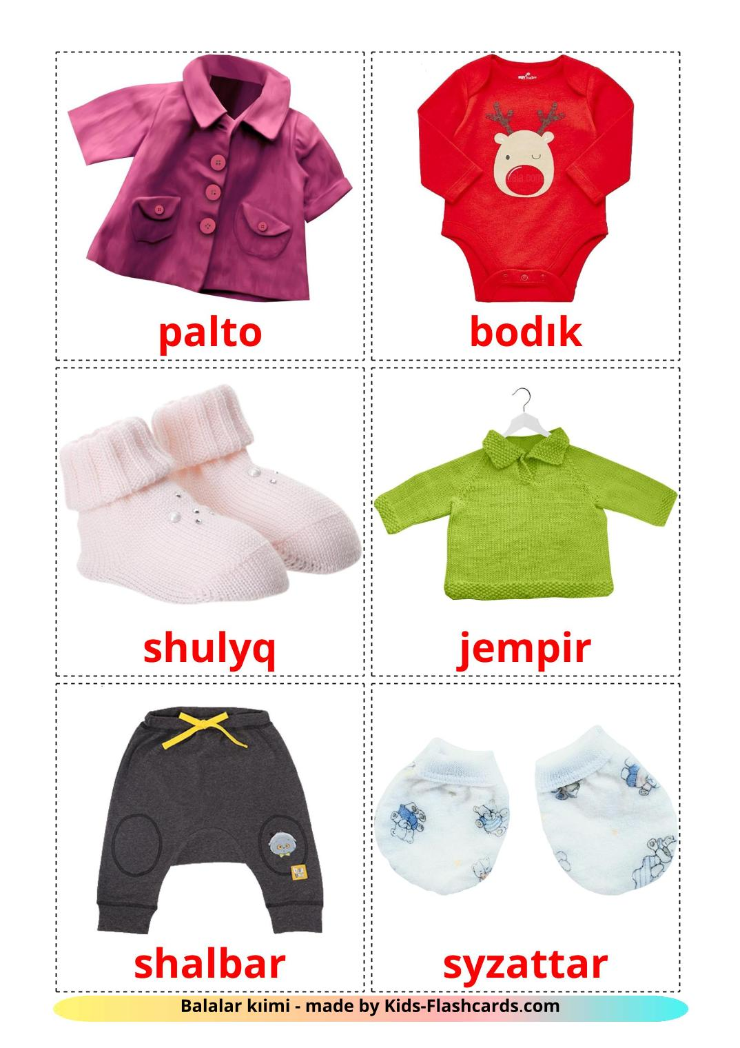 Baby clothes - 12 Free Printable kazakh(latin) Flashcards