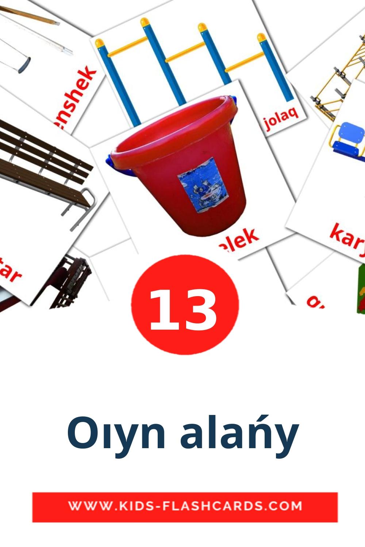 13 Oıyn alańy Picture Cards for Kindergarden in kazakh(latin)