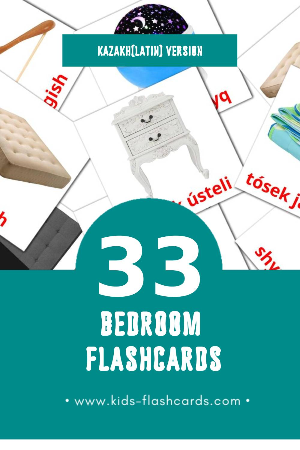 Visual Jatyn Flashcards for Toddlers (33 cards in Kazakh(latin))