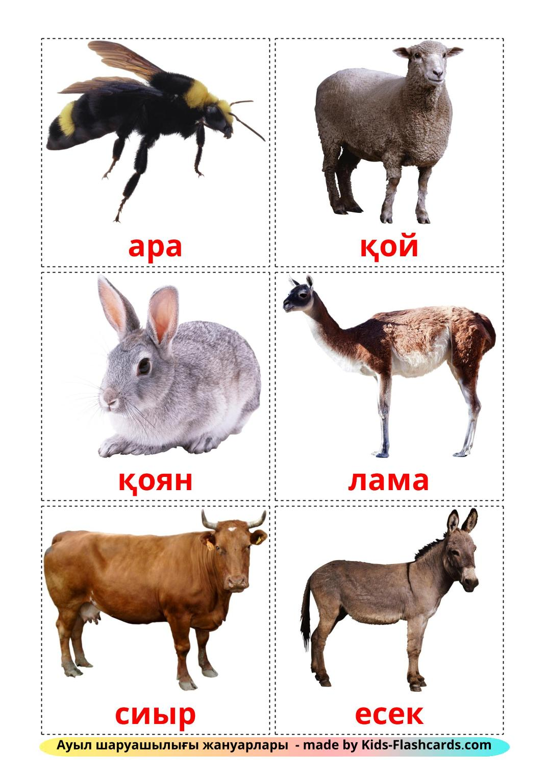 Farm animals - 15 Free Printable kazakh Flashcards