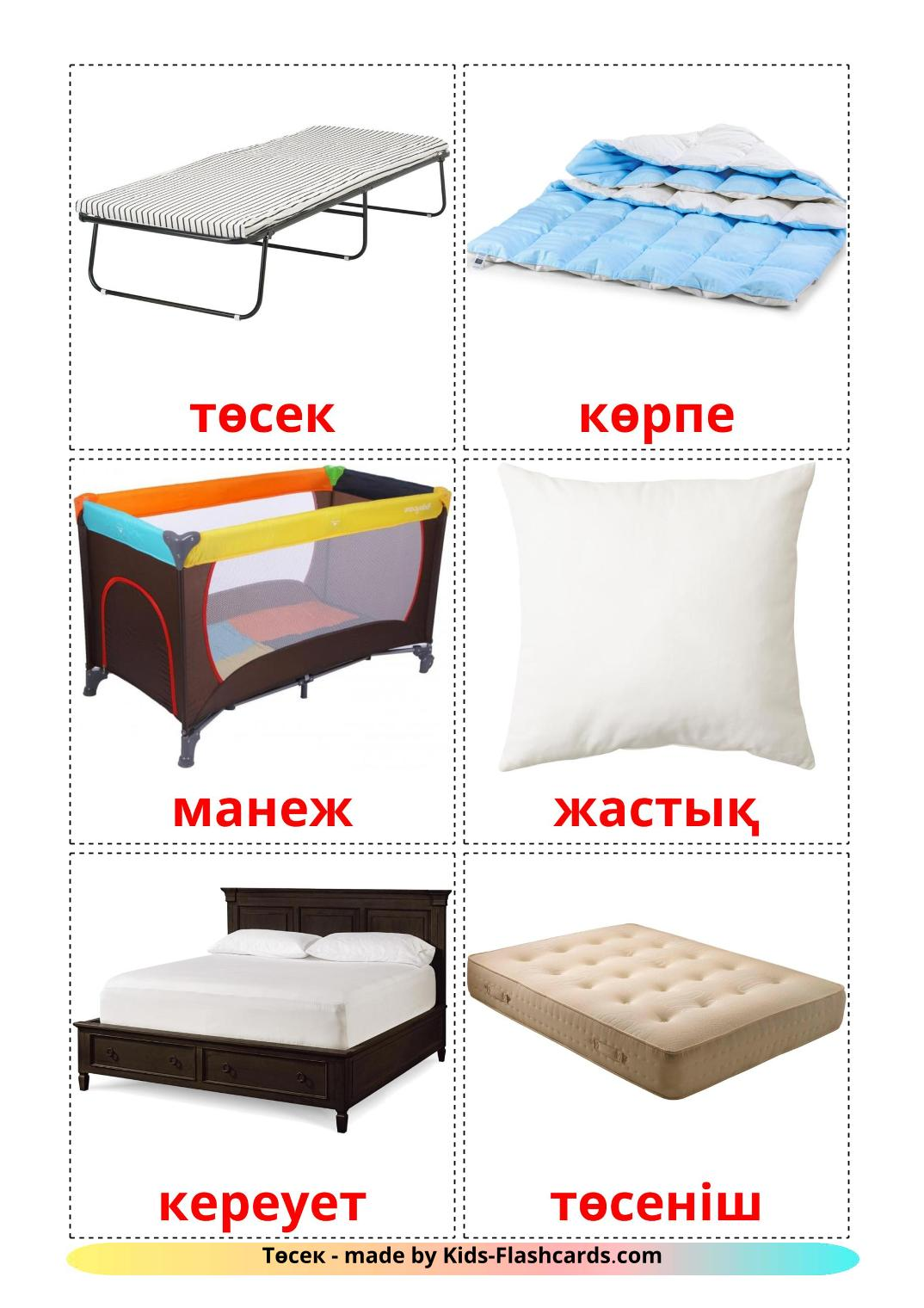 Bed - 15 Free Printable kazakh Flashcards