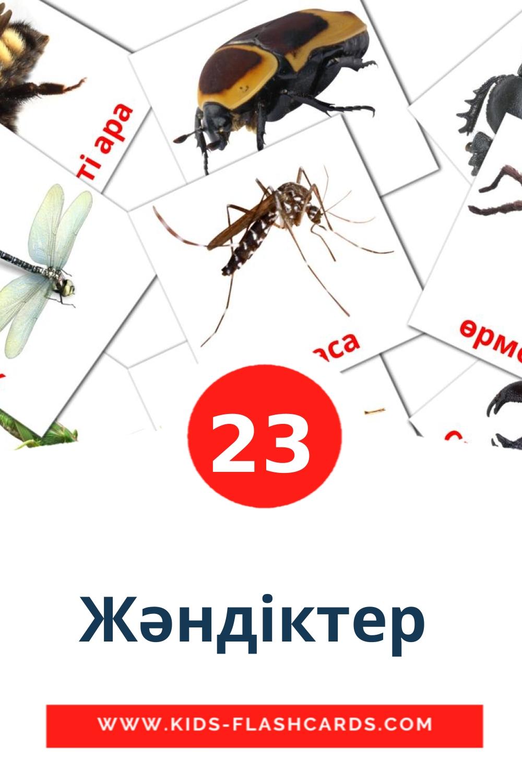 23 Жәндіктер  Picture Cards for Kindergarden in kazakh