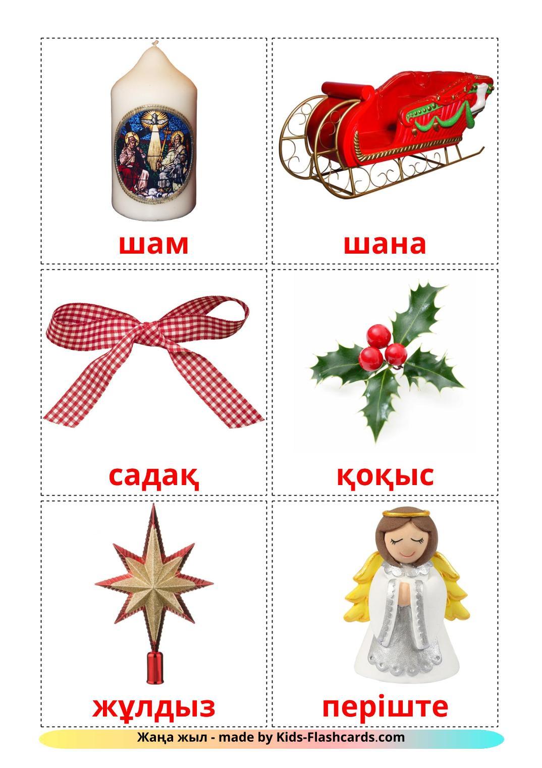 Christmas - 28 Free Printable kazakh Flashcards