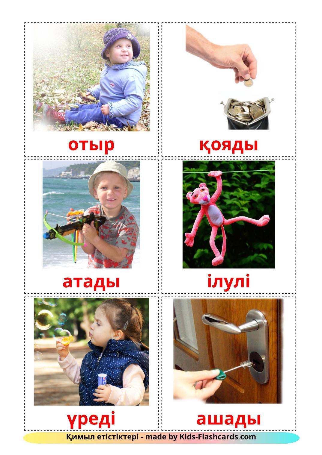 Action verbs - 55 Free Printable kazakh Flashcards